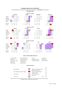 2016/17 calendar view of academic year