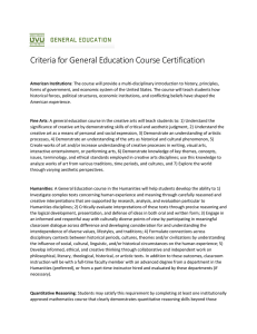 Criteria for General Education Course Certification