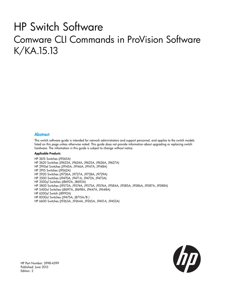 Hp Switch Software Comware Cli Commands In Provision Software