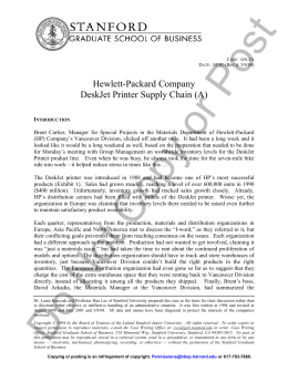 hewlett packard company deskjet printer supply chain case study Hewlett-packard company deskjet printer supply chain (a) - solution and   hewlett packard company in vietnam- case study 1221 words.