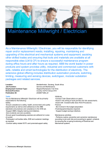 Maintenance Millwright / Electrician