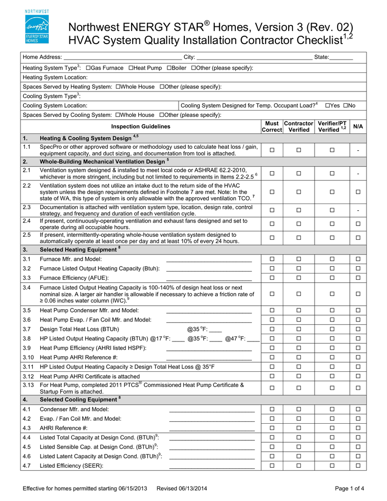 hvac system quality installation contractor checklist