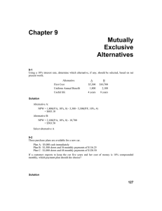 Chapter 9 Mutually Exclusive Alternatives