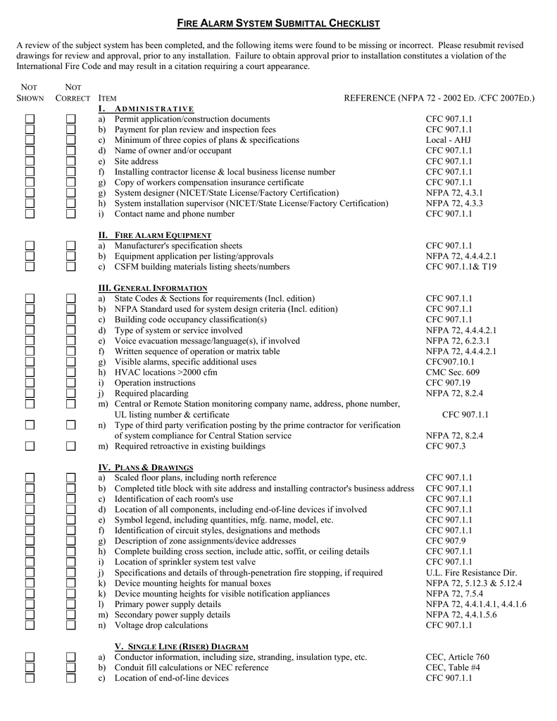 Fire alarm system submittal checklist a review of the keyboard keysfo Image collections