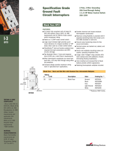 Specification Grade Ground Fault Circuit Interrupters