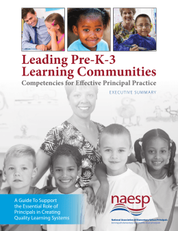Leading Pre-K-3 Learning Communities Executive Summary