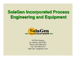 SolaGen Incorporated Process Engineering and Equipment