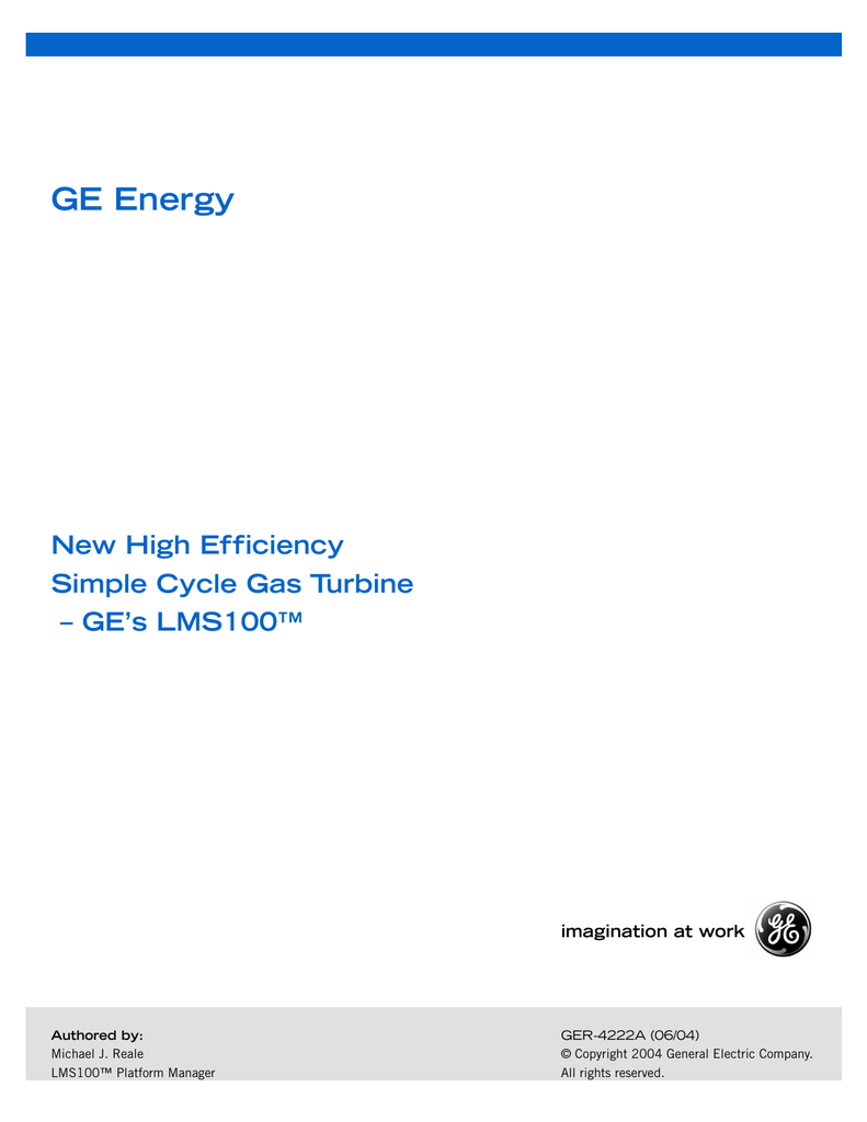 New High Efficiency Simple Cycle Gas Turbine