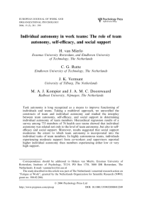 Individual autonomy in work teams: The role of team autonomy, self