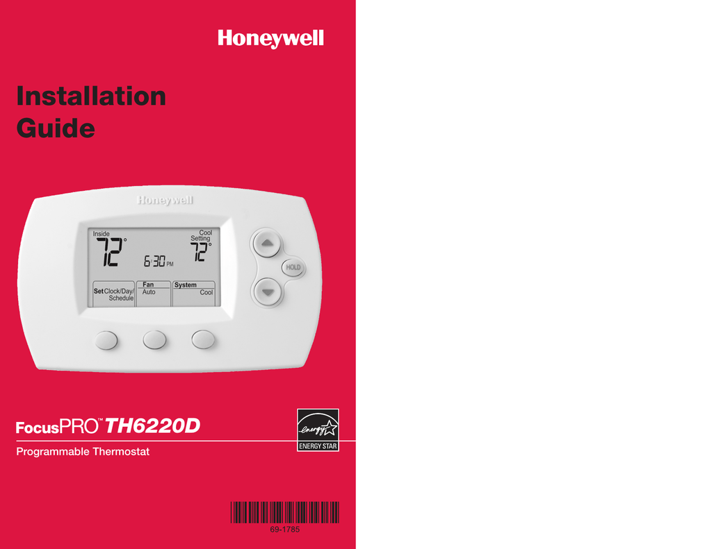 Th6220d Wiring Diagram Honeywell Th6220d1028 Libraryth6220d Programmable Thermostat Installation