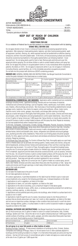 Bengal Insecticide Concentrate Caution