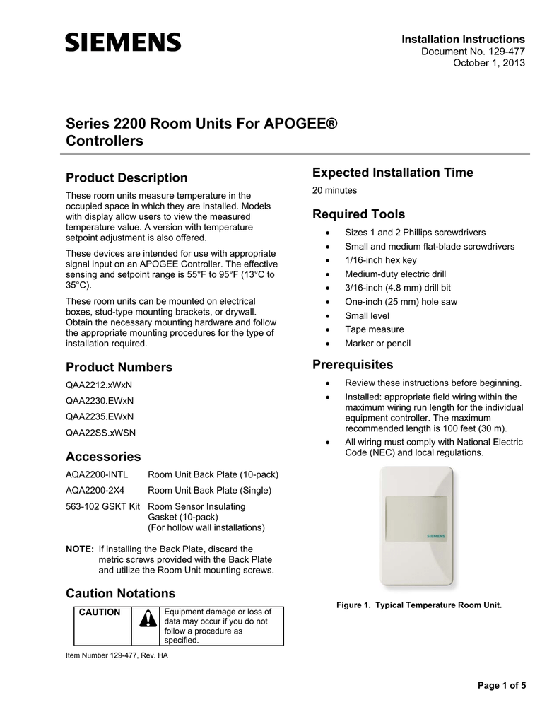 Marvelous Series 2200 Room Units For Apogee Controllers Wiring 101 Capemaxxcnl