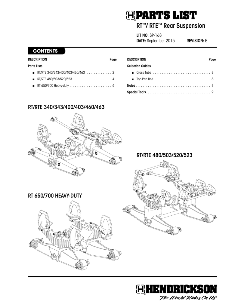 Sp-168 RevD RT/RTE Rear Suspension Parts List