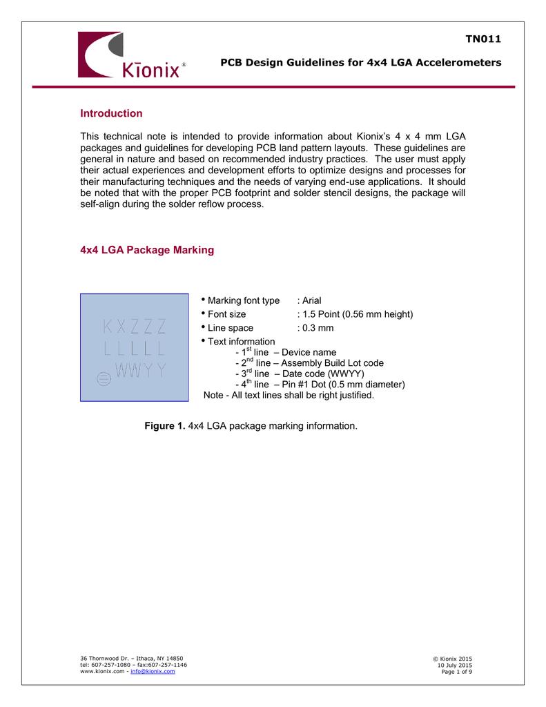TN011 PCB Design Guidelines for 4x4 LGA Accelerometers