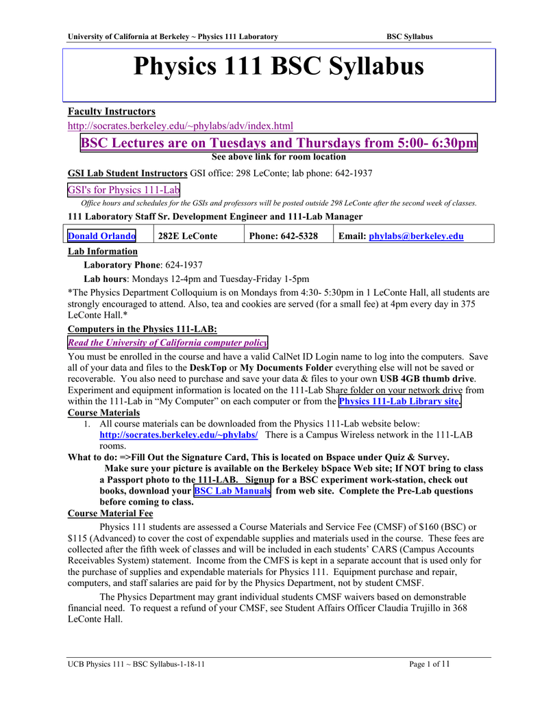 Physics 111 BSC Syllabus - Information Services and Technology