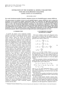 estimation of the numerical model parameters for the synchronous