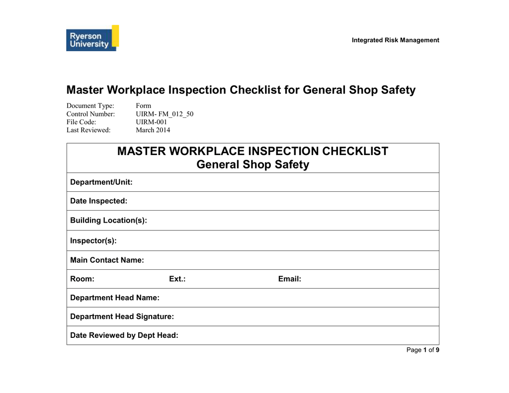 Master Workplace Inspection Checklist for General Shop Safety