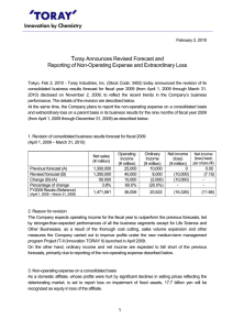 Toray Announces Revised Forecast and Reporting of Non