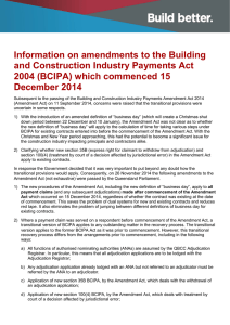 Information on amendments to the Building and Construction
