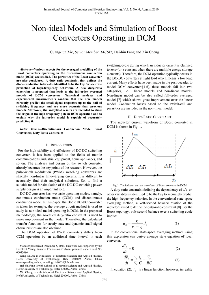 Non-ideal Models and Simulation of Boost Converters Operating in