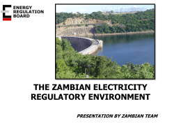THE ZAMBIAN ELECTRICITY REGULATORY ENVIRONMENT