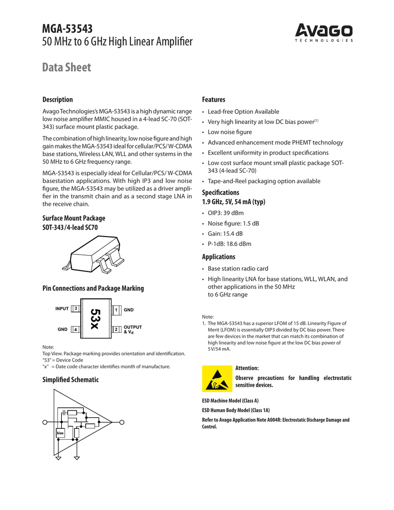 MGA-53543 50 MHz to 6 GHz High Linear Amplifier Data Sheet