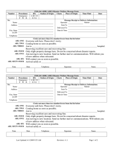 FSD-244 ARES Disaster Welfare Messagge Form for