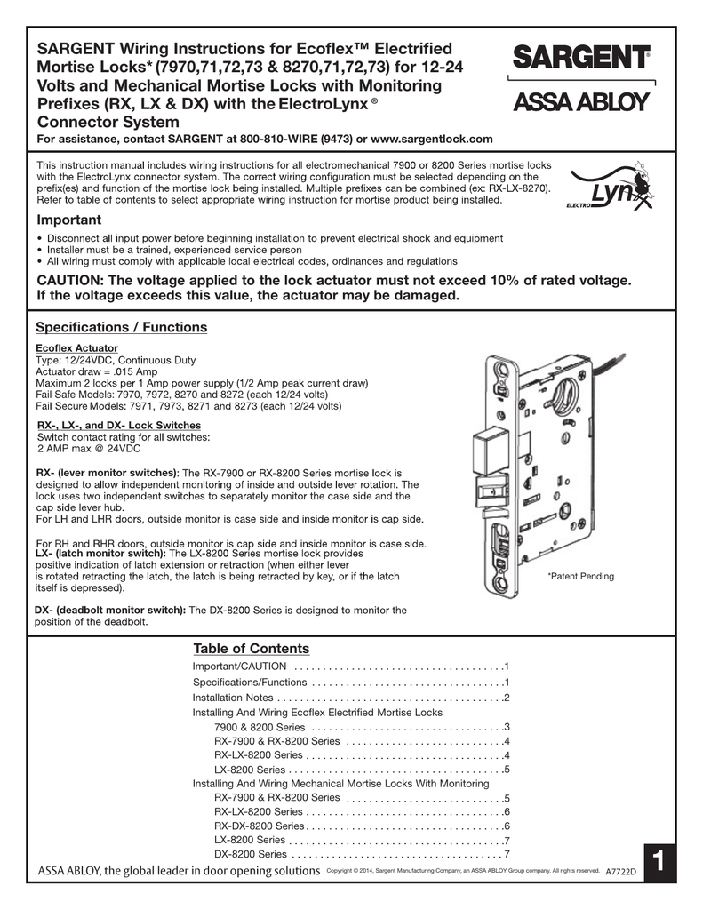 Sargent Wiring Instructions For Ecoflex Electrified Mortise Locks Door Actuator