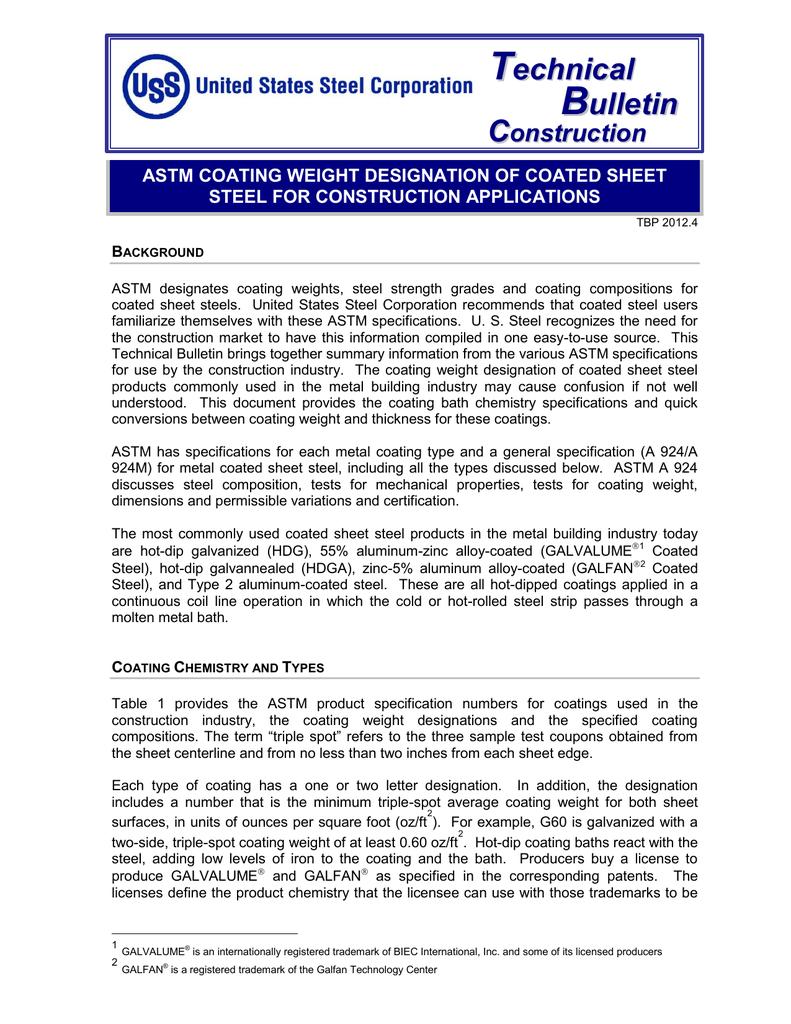 Astm Coating Weight Designation Of Coated