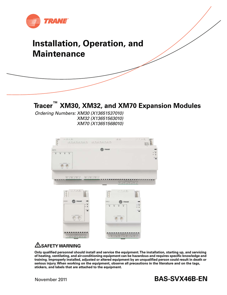Tracer™ XM30, XM32, and XM70 Expansion Modules on