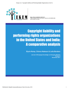 Copyright Liability and Performing Rights Organizations in the
