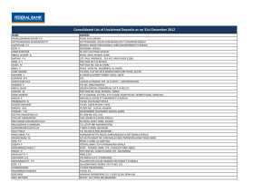 Consolidated List of Unclaimed Deposits as on 31st