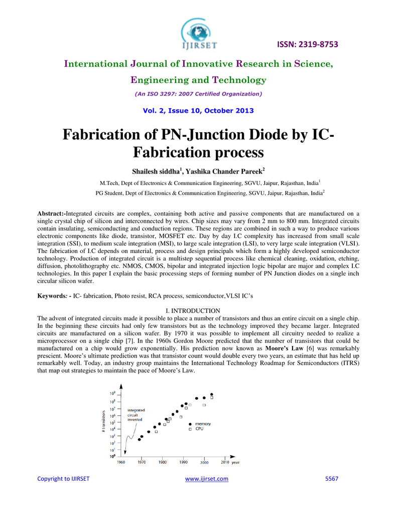 Fabrication Of Pn Junction Diode By Ic Process Understanding The
