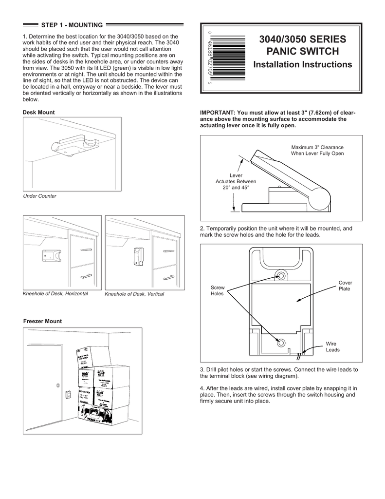 3040 3050 Series Panic Switch Electrical Wire Diagram Freezer Europe