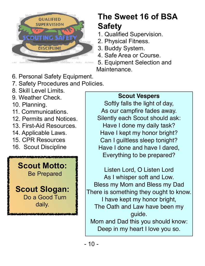 The Sweet 16 Of Bsa Safety Scout Motto Scout Slogan