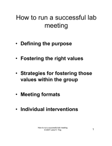 How to run a successful lab meeting
