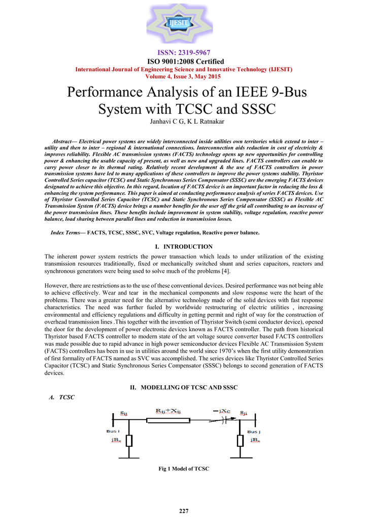 Performance Analysis of an IEEE 9-Bus System with TCSC