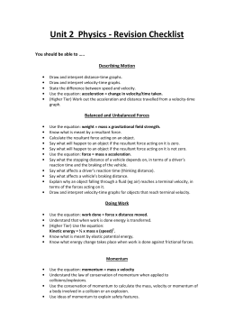 Unit 2 Physics - Revision Checklist