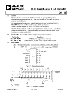 DAC100 10-Bit Current Output D/A Converter Data Sheet (Rev. D)