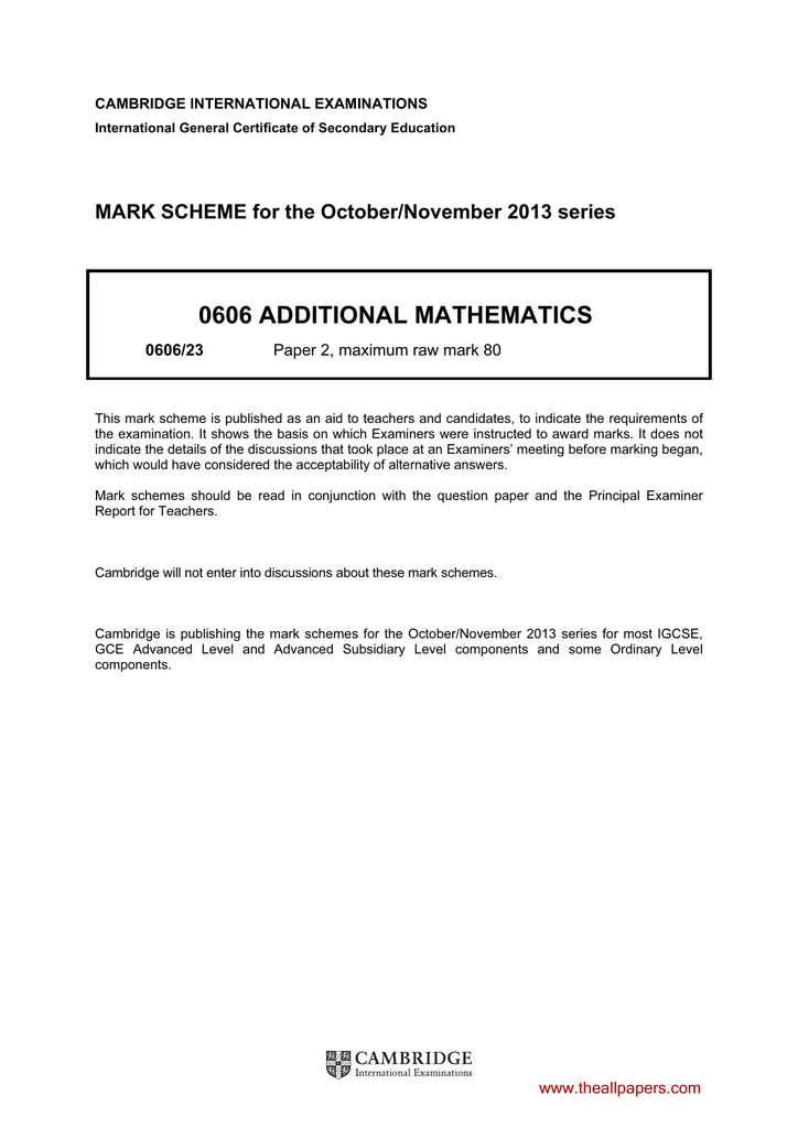 0606 additional mathematics