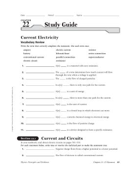 22 study guide current electricity physics best setting rh merchanthelps us glencoe physics study guide with answers glencoe physics study guide ch 20 answer key
