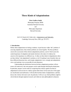 Three Kinds of Adaptationism - Peter Godfrey