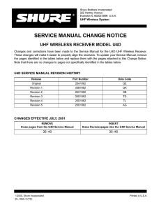 service manual change notice uhf wireless receiver model u4d
