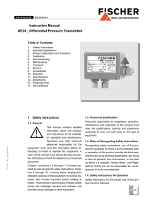 Instruction Manual DE28 Differential Pressure Transmitter