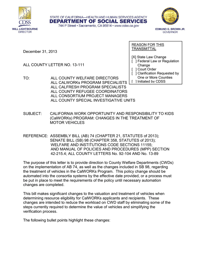 Vehicle Service Department Letter >> Calworks Vehicle Policy