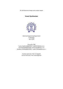 Vowel Synthesizer - Department of Electrical Engineering, Indian