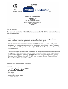 This letter is to confirm that NFPA 262 is the replacement for UL 910
