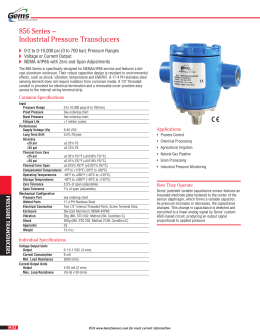 856 Series – Industrial Pressure Transducers