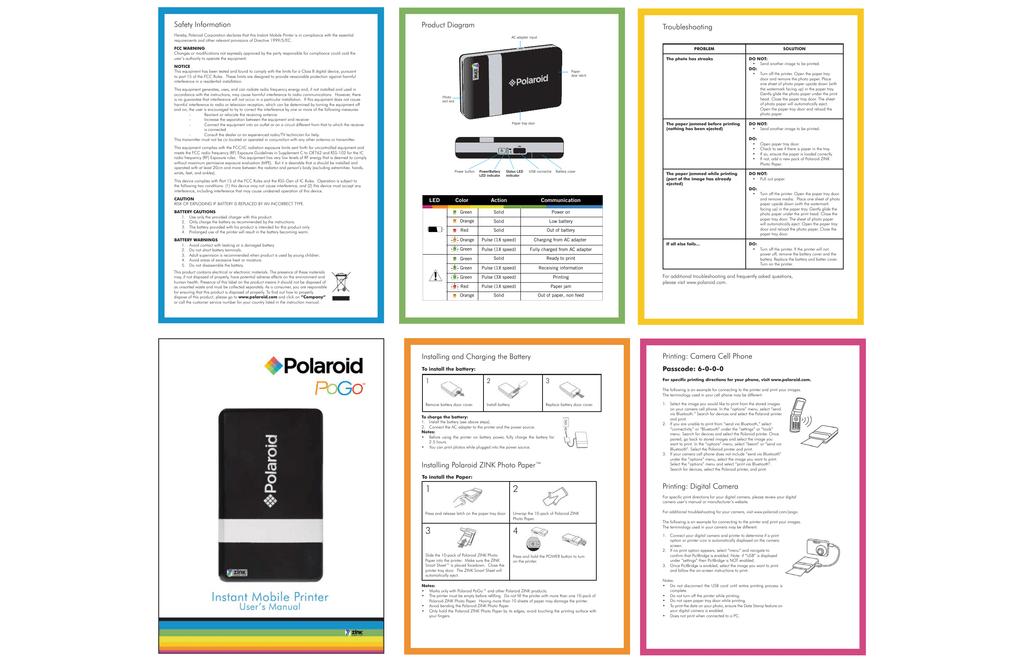 Polaroid Pogo Instant Mobile Printer Manual Gb