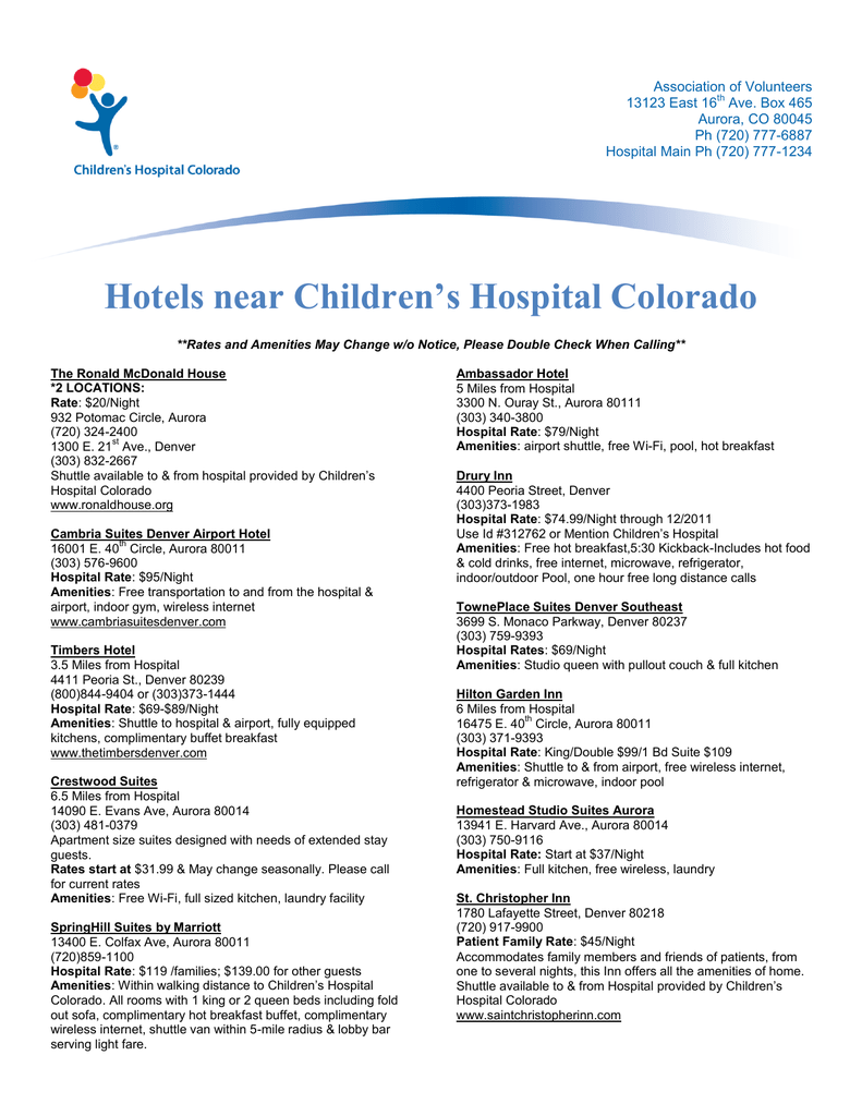 Hotels Near Children S Hospital Colorado